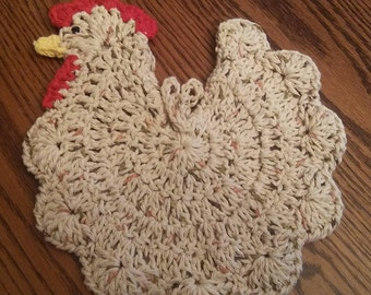 Double-thick Crocheted Chicken/Rooster Pot Holder