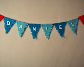 Personalised bunting, personalized, custom felt banner, name bunting, letters applique, boy's room wall decor, baby gift, nursery garland