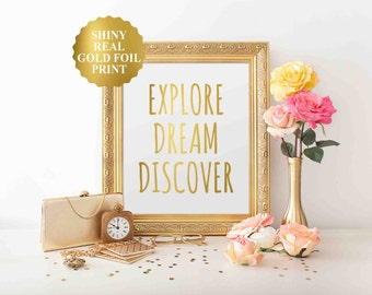 Explore, dream discover, MARK TWAIN GIFTS, mark twain quote, Gold Foil, inspirational quote, motivational quote, quote, poster, wall decor