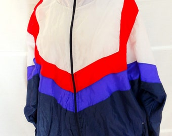 Mens Windbreaker Jacket Zip Up jacket Athletic Outdoor Adventure Jacket with Pockets Mens Vintage 1990s Size XL