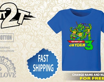 Ninja Turtle Birthday Shirt, TMNT Custom Name and Number 1st 2nd 3rd 4th 5th 6th 7th Birthday toddler,  Boys birthday ninja turtles