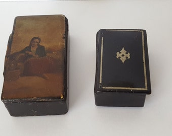 Antique Lacquer Hinged Wood Boxes
