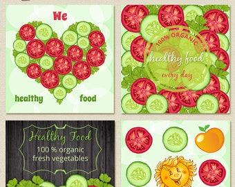 Healthy food instagram banners Web banners set Vegetarian instagram template Vegetables Organic food  Instant download Social media sign