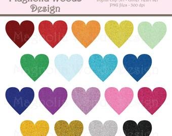 Glitter Heart Clip Art, Glitter Rainbow Heart Clip Art, Glitter Hearts PNG, Digital Glitter Hearts, Small Commercial Clip Art