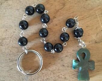 Penal Rosary, Black Onyx, Green Agate, Handmade in CA