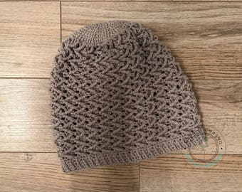Alizé, bonnet spring/summer for woman, gray, realized in a point of fantasy, cotton crochet