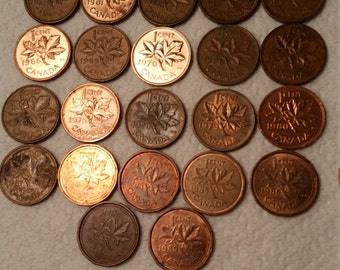 22 canada maple leaf vintage coins 1960 - 1989  / cents coin lot - world foreign collector money numismatic a10
