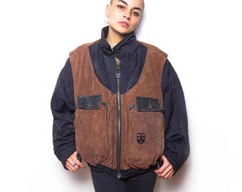 Vintage 80s Brown Suede Leather Bomber Jacket ID:1169
