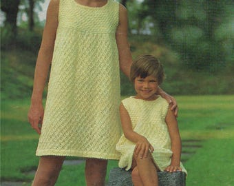 Womens and Girls Dress PDF Knitting Pattern : Ladies 32, 34 and 36 inch bust and Girls 22, 24 and 26 inch chest . Digital Download