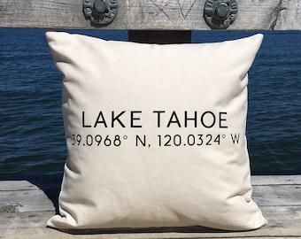 Lake Tahoe 39.0968, N 120.0324 W Pillow 18 x 18