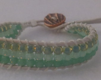 0024-White leather Ladder Braclet with Pale Green glass beads