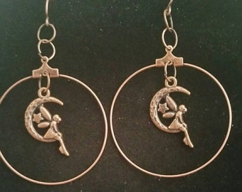0118-Copper Hoops Earrings, Fairy on a moon
