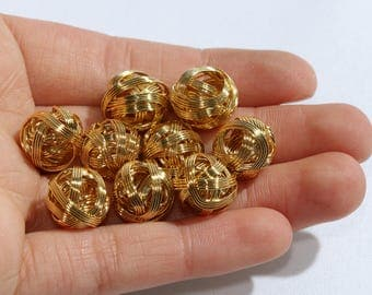 12mm Gold Wire Beads, Gold Wire Ball Charms,Wire Charms, Jewelry Supplies,Wire Mesh Beads,