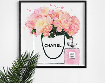 Shopping  bag poster. Peonies in a shop bag. Coco perfume bottle. Watercolor peonies. Roses, peony artwork. Pink flowers