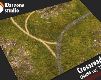 Battle mat: Crossroads - battle field base for 28mm scale model fantasy wargames -  Age of Sigmar, Lotr, Lord Rings, Hordes, Warmachine