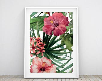 TROPICAL printable wall art | Nature Flower Leafs WallArt | decoration | instant download