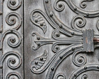 London England, architectural detail, Westminster Abbey door details, iron work, old wooden door, fine art photography, rustic home decor