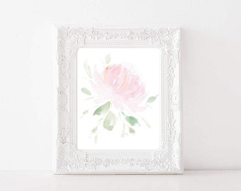 Single Pink Peony Print (FREE SHIPPING) floral watercolor, floral print, flower art, nursery print, children's wall art