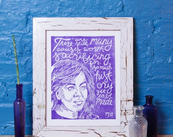 Michelle Obama Poster, FLOTUS Quote, Woman Power Print, Handmade Linocut, Inspirational Quote, Block Print Art, Wall Hanging