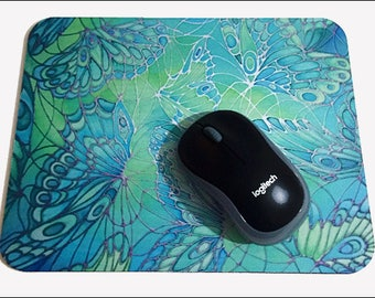 Butterflies Mouse Mat - Green Lime Turquoise Mouse Pad - Butterfly Computer Mouse Mat - Silk Painting Print Desk Accessory - Office Gift
