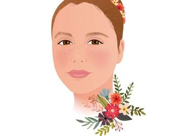 Custom portrait, Digital Illustration, bust portrait, child portrait, personalized gift, illustration,