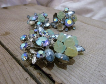 Vintage Blue & Green Jewel Brooch and Earrings