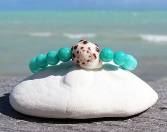 hawaiian drupe shell amazonite bracelet amazonite beads hawaiian shell bracelet hawaiian shell bangle gemstone bracelet surfer girl jewelry