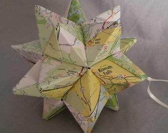 Paper Star Map North Eastern California Mt. Shasta Area and Vacinity, Klamath Falls California, Modular Origami Star, California Paper Star