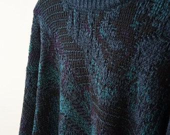 ON SALE - teal / navy knit acrylic pullover sweater, size XL