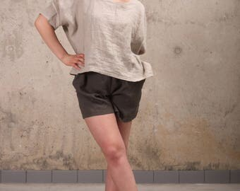 Womens Linen Tunic Top- Linen Tunic- Oversized Linen Tunic Top- Loose Linen Tunic Top- Plus Size Linen Tunic- Linen Top with Sleeves-