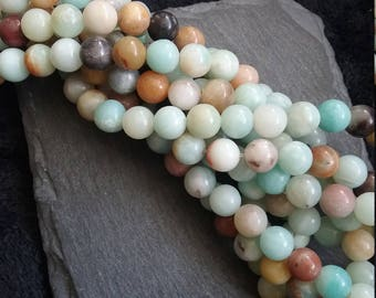 Full Strand of 8.5mm Natural Light Blue Amazonite Round Beads with 1.2mm Hole