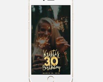 LIMITED TIME! Birthday Snapchat Filter, Birthday Filter, Geofilter, Snapchat 30th birthday for her, 30th Birthday bir111
