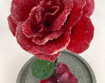 Crystallized Rose, Enchanted Rose, Beauty and the Beast Rose, Crystallized Flower, Red Rose, Life Size Rose, Crystal Rose, Wedding Flowers