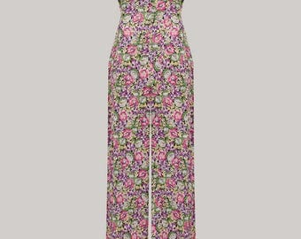 40's Vintage Inspired 'Charlotte' Jumpsuit in Lilac/Pink Floral by The Seamstress of Bloomsbury