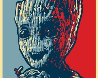 """BABY GROOT HOPE Election Style Prints - 5.5"""" x 8.5"""" - Guardians of the Galaxy Vol. 2"""
