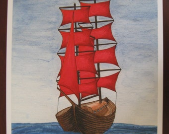 Tall Ship pirate ship with red sails