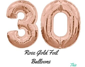 "Rose Gold 30th Birthday Balloons 100cm (40"") Helium Giant Foil Balloons"
