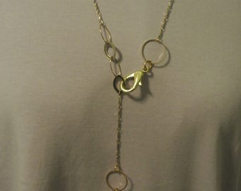 A Lovely Y Necklace with Gold Engraveable Pendant