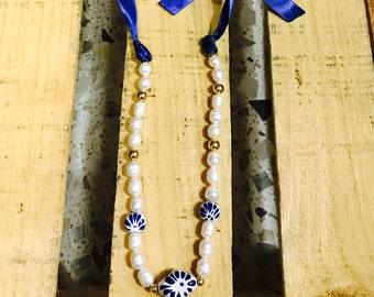 Collar de Talavera y perla cultivada
