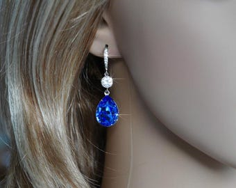 Handmade Swarovski Sapphire Blue Pear Crystal Dangle Earrings, Bridal, Wedding (Sparkle-2545)