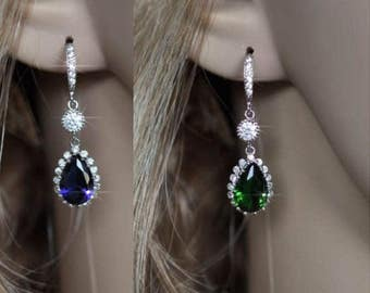 Sapphire Blue or Emerald Green Handmade Small Cubic Zirconia CZ Dangle Bridal Earrings, Bridal, Wedding (Sparkle-1963)