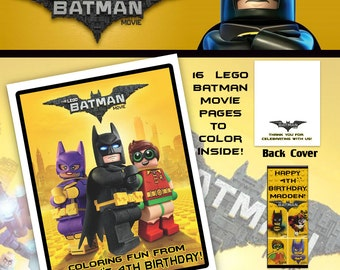 Lego Batman Movie Coloring Book with Crayons/Birthday Party Favor/Personalized Favors