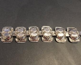 MARINO signed vintage metal link bracelet, unusual eye-catching design