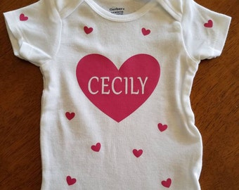 IRON ON heart personalized decal with additional small hearts- Decal Only- Perfect for baby girl DYI onesie, shirt or bag. Baby gift idea!