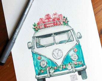 Christmas VW art print, christmas, holiday watercolor painting, volkswagen, vintage, classic car, archival print, volkswagen van, vw van