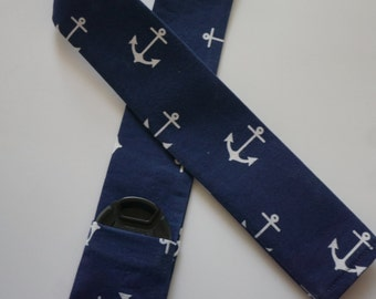 Navy Anchor Camera Strap Cover with pocket for a photographer gift
