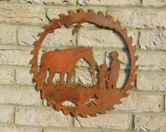 Horse Wall Art / Horse Gift / Rusty Metal Art / Metal Horse Garden Decor / Horse Riding Gift / Equine Art / Jockey Gift / Horse Lover