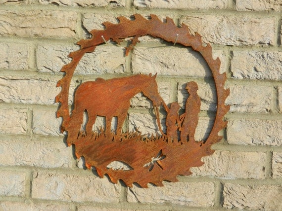 Horse Circular Saw Blade Art Rusty Metal Art Garden