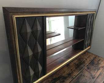 Midcentury Shelving Unit with Mirror