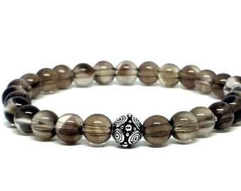 Single wrap Smoky Quartz w/ Bali Silver bracelet, Gemstone Bracelet, Gift for her, Gift for him, Birthday gift, Graduation gift